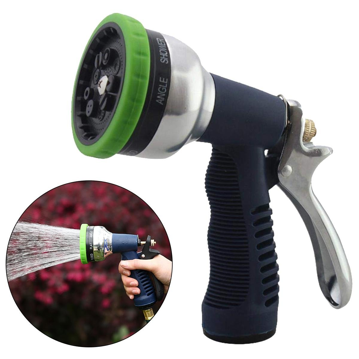 AOLVO Garden Hose Nozzle, Water Hose Spray Nozzle Heavy Duty,High Pressure 9 Patterns Hand Sprayer with Metal Grip for Watering Lawn and Yard Plants, Car Washing and Showering Dog & Pets.