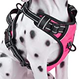 PoyPet No Pull Dog Harness, Reflective Vest Harness with Front & Back 2 Leash Attachments and Easy Control Handle for Small Medium Large Dog (Pink, Small)