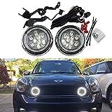 Mini Led Rally DRL Light - NSLUMO 18W High Power DC12V Canbus LED DRL Daytime Running Light Halo Fog Lamp Kit For Mini Cooper all series R55 R56 R58 R60 Rally Drving Lamp(Chrome)