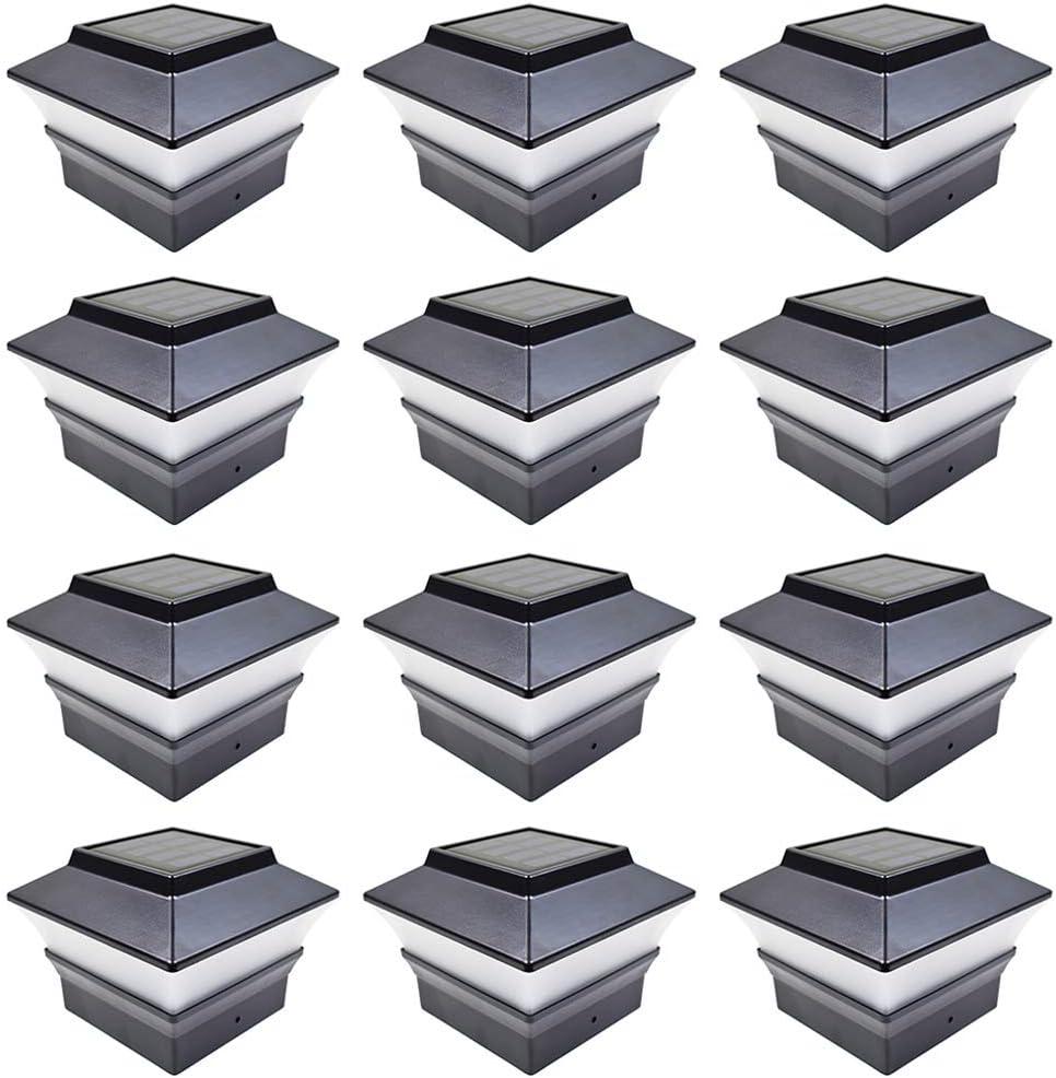 iGlow 12 Pack Black Outdoor Garden 4 x 4 Solar LED Post Deck Cap Square Fence Light Landscape Lamp PVC Vinyl Plastic