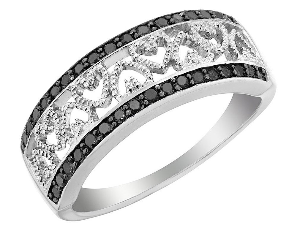 Black Diamond Heart Ring 1/4 Carat (ctw) in Sterling Silver