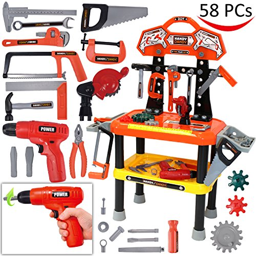 58 Pieces Kids Workbench with Realistic Tools and Electric Drill for Construction Workshop Tool Bench, STEM Educational Play, Pretend Play, Birthday Gifts and Tool Bench Building Set by Joyin Toy (Child Tool Bench)