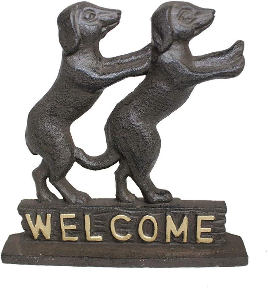 XuZeLii Tope De Puerta Antiguo Pies De Fundición De Metal del Hierro For Perros Doble Bienvenido Tope De La Puerta Metal Craft Insertar Apto para Sala De Estar (Color : Bronze, Size : 12x6.4x12.1cm)