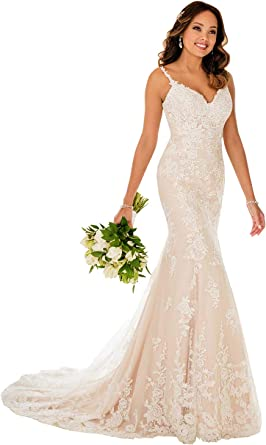 Nicefashion Straps V Neck Floral Lace Mermaid Wedding Dress Backless Bridal Gown