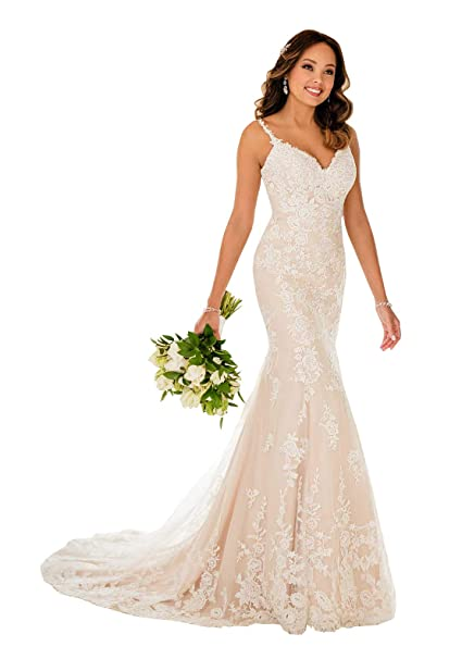 Nicefashion Straps V Neck Floral Lace Mermaid Wedding Dress Backless Bridal Gown