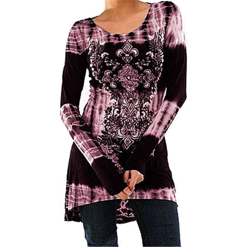 Mujer Blusas Largo Manga Vestir - Mujeres Vestidos Casual Mini Vestir Impreso Sayo Vestir T Shirt Tops Blusa Suelto Ocio Pullover Highdas: Amazon.es: Ropa y ...