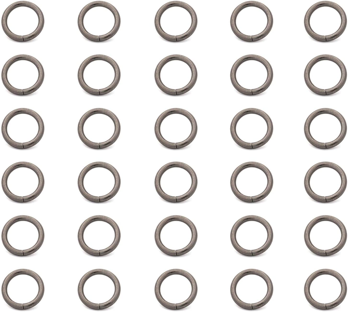 BIKICOCO 3/5'' Metal O Ring Purse Connector Round Loop Buckles Non Welded for Bags, Collars, Shoes, and Belt Straps, Gunmetal, Pack of 30