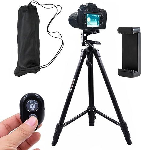 Linkcool 55 pulgadas cámara trípode soporte ajustable de aluminio, teléfono trípode para iPhone, Android Smartphone y cámara con Universal soporte para teléfono y Bluetooth mando a distancia: Amazon.es: Electrónica
