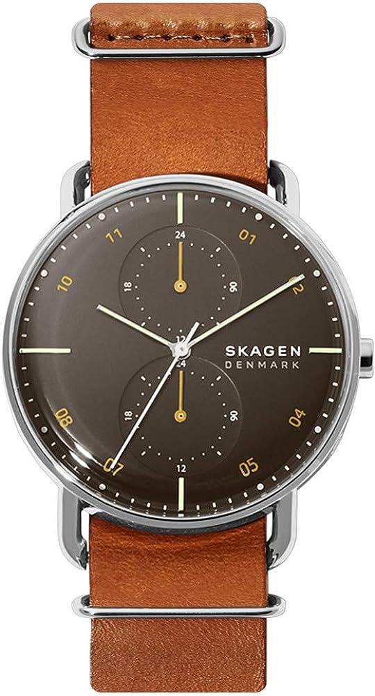 Skagen Reloj Analógico para Hombre de Cuarzo con Correa en Cuero Genuino SKW6537