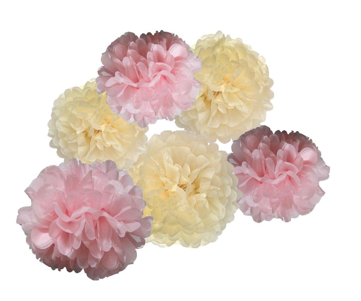 Amazon Heartfeel 6pcs Tissue Paper Cream Baby Pink Pom Poms