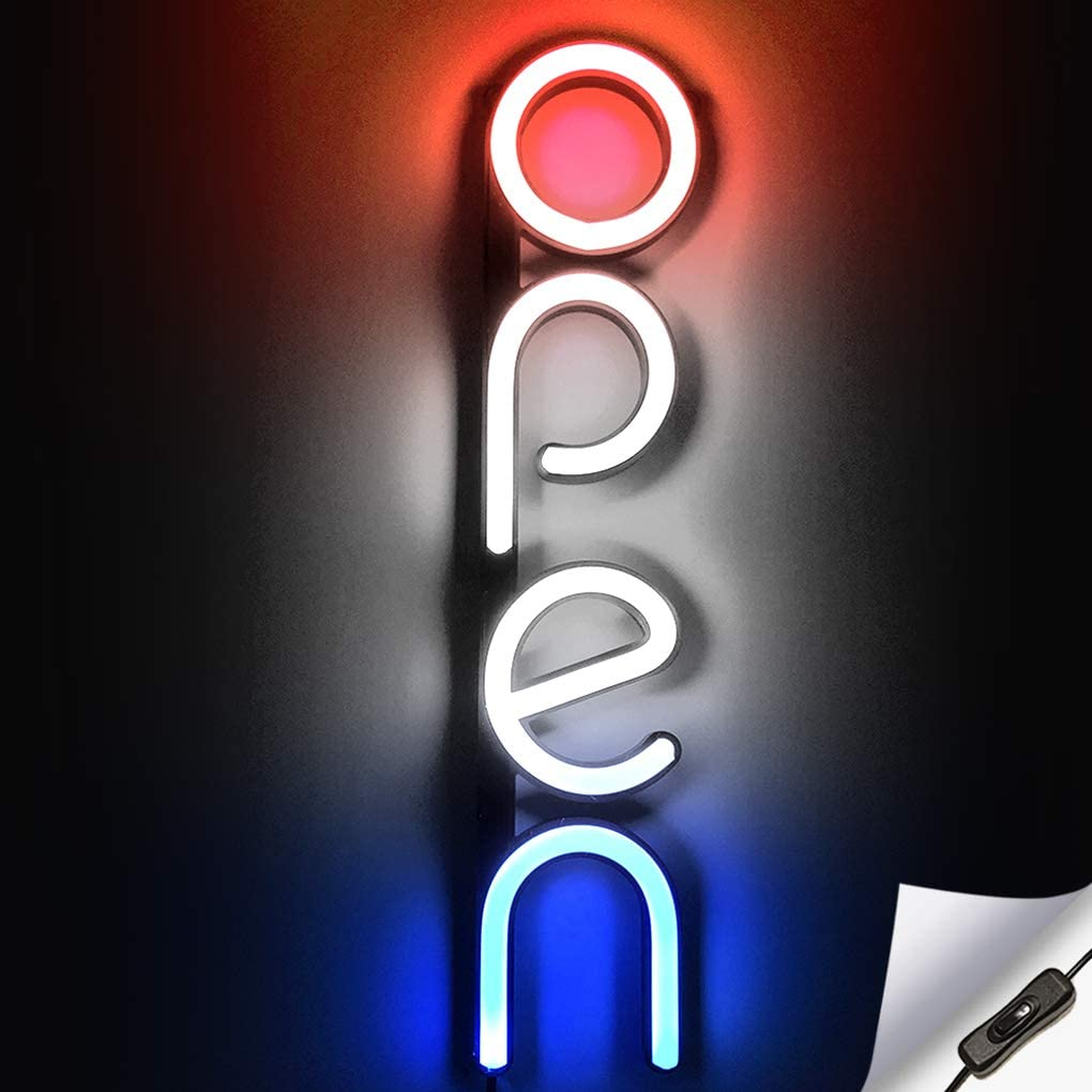 Vertical LED Neon Open Sign for Business - Bright LED Open Sign with ON & Off Switch - Lightweight & Energy Efficient - Red White and Blue