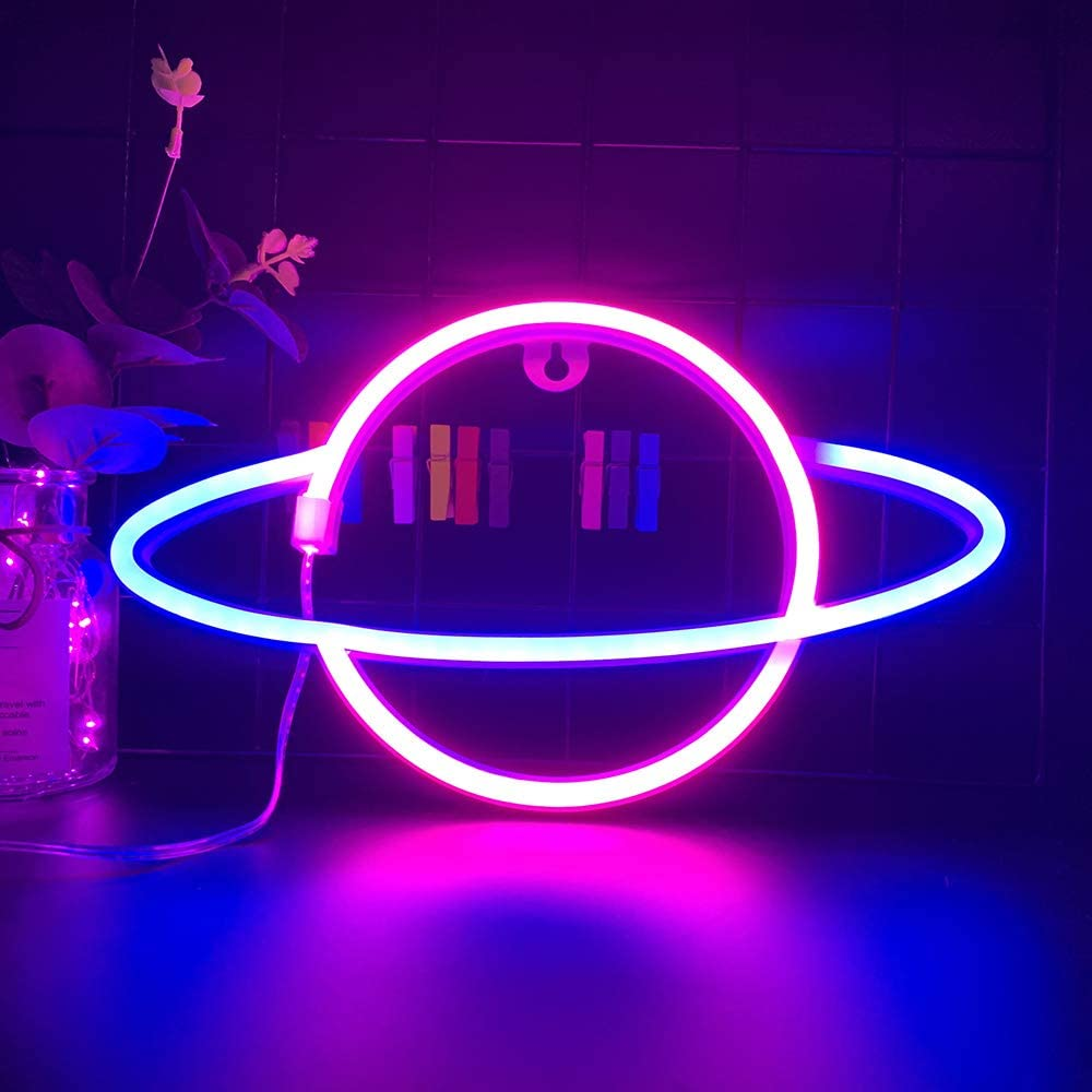 Blue Pink Color Galaxy Planet Neon Sign Light Glow in The Dark Ceiling Hanging Home Wall Party Decor,LED Hang Planets Neon Sign Create The Milky Way Atmosphere for Halloween Party