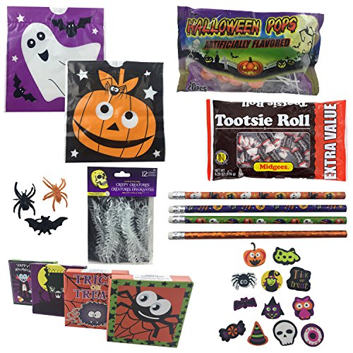 Cute Halloween Treats For School (Halloween Party Favor Kit for Kids - Treat Bags, Candy Sucker, Tootsie Rolls, Pencils, Erasers, Spider Bat Rings, Stickers, Centipede Toy Bundle For 12 Kids (117 Piece))