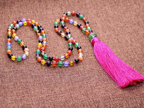 AmorWing Hand Knotted Semi Precious Gems 108 Beads Chakra Stones Mala Necklace