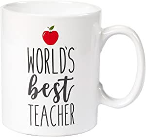 Ceramic Coffee Mug - 16-Ounce Large Novelty Stoneware White Tea Cup - World's Best Teacher with Red Apple - Office, Home, Birthday Gift