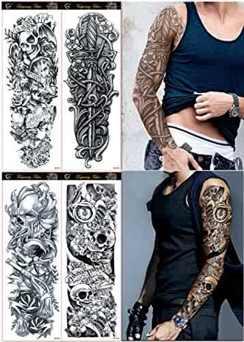 DaLin 4 Sheets Extra Large Temporary Tattoos, Full Arm (Set 9)