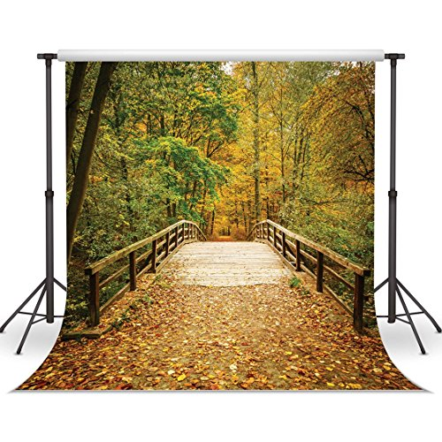 LYWYGG Deciduous Bridge Backdrop 10x10ft Yellow Leaves Filled with Trees Autumn Scenery Vinyl Fall Photography Backdrops Studio Background Photo Backdrops Studio Props CP-62