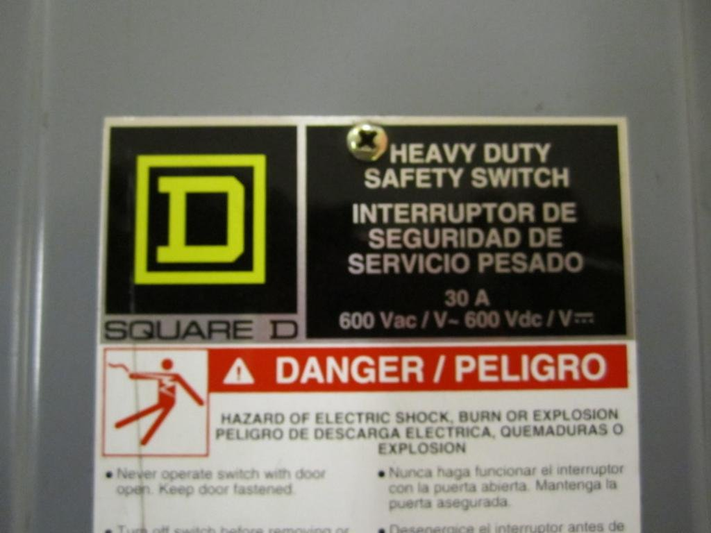 Square D - hu361rbei - Interruptor de seguridad, 30 A, 600 VAC, 3PH: Amazon.es: Amazon.es