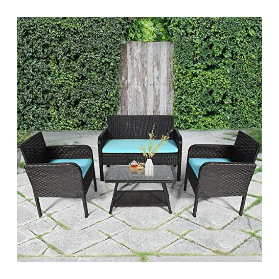 Tangkula 4 Piece Patio Outdoor Conversation Set with Glass Coffee Table, Loveseat & 2 Cushioned Chairs Garden Lawn Rattan Wicker Patio Chat Set Outdoor Furniture Set (Blue) (1) - Sturdy Frame & Hand-Woven Rattan: Our 4-piece patio furniture set is made of superior steel and premium PE rattan that ensures the stability and durability. And the exquisite craftsmanship improves overall weight capacity. Besides, the set can withstand moderate wind or rain. Ergonomic Chair with Waterproof Cover: At the front of the armrest, the corner is designed in round which accord with your line of hand and wrist. And the height of armrest is not too high or too low to relax your hand or arm. What's more, the zippered cover of the cushion can be removed from cushion and cleaned conveniently. Glass Top Table with Shelf: The tempered glass is fixed by 4 suckers and it won't move freely. And the top is removable so that it is easy to clean if the top is dirty. Besides, the lower shelf can provide additional storage space for you to store some sundries. At the bottom of the table, there are 4 pads to prevent slip and protect ground. - patio-furniture, patio, conversation-sets - 61zenMg%2BLTL. SS570  -
