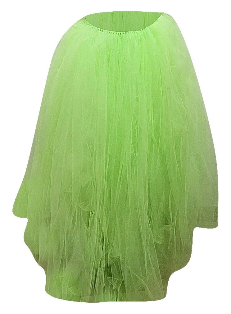 Hibukk Solid Color Multilayer Mesh Long Princess Skirt & White Lace Edge Bra, Light-Green M,Manufacturer(XL)
