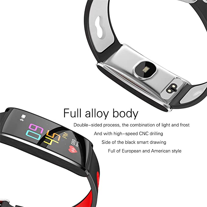 Amazon.com: XZZ Smart Bracelet with Stylish Sports Step Bluetooth Bracelet Heart Rate Monitoring Blood Pressure Detection IP67 Waterproof,Gray: Home & ...