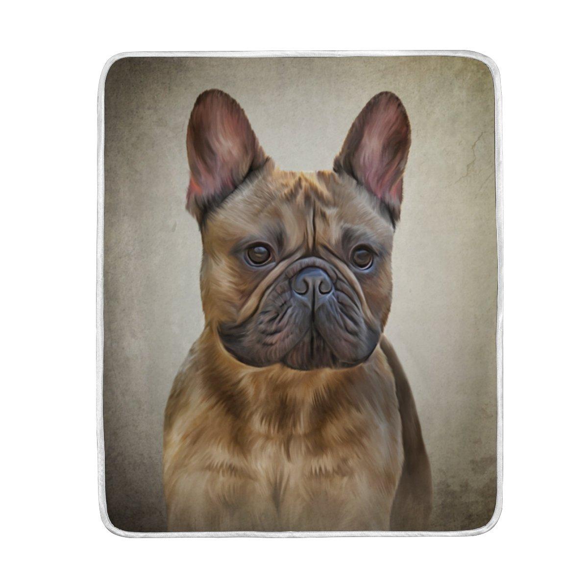 mydaily dibujo perro bulldog francés manta sofá cama manta microfibra de poliéster ligero suave y cálida manta 50 x 60 inch: Amazon.es: Hogar