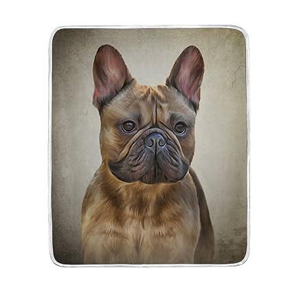 mydaily dibujo perro bulldog francés manta sofá cama manta microfibra de poliéster ligero suave y cálida