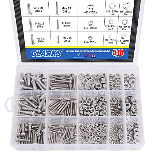 (Glarks 510 Pieces Pan Head Stainless Steel Screws Nuts Lock and Flat Gasket Washers Assortment Kit )
