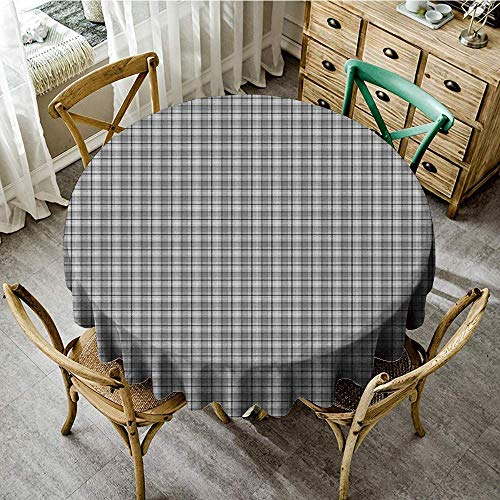 DONEECKL Round Tablecloth Black and Grey Traditional Tartan Pattern Classical Timeless Scottish Quilt Design Table Decoration D39 Black and Pale Grey