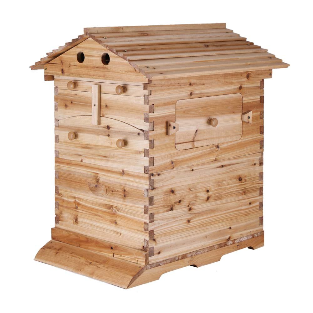 Seeutek Beehive Wooden House Wood Honey Bee Hive House without Auto Flow Frames Honey for Beekeeping 20x16x10 Inch