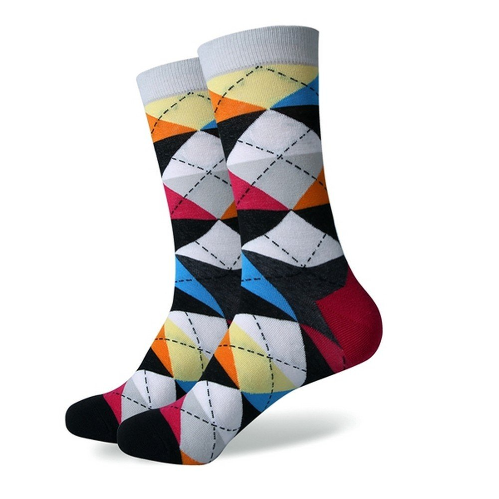 Mens Trendy Argyle Style Anti-Bacterial Cotton Knit Socks