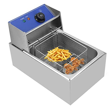 blackpoolal 6,0 l – Freidora eléctrica Acero inoxidable fría zonas fritura con tapa extraíble