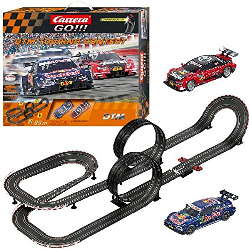 Carrera GO!!! DTM Touring Contest Slot Car Race Track - 1:43 Scale Analog System - Includes 2 Cars: BMW and Audi and 2 Controllers - Electric-Powered Set for Ages 8 - Race Carrera Cars