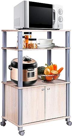 COSTWAY Carrito de Cocina Soporte para Microondas y Horno con Ruedas Estante Organizador Almacenamiento (Natural): Amazon.es: Hogar