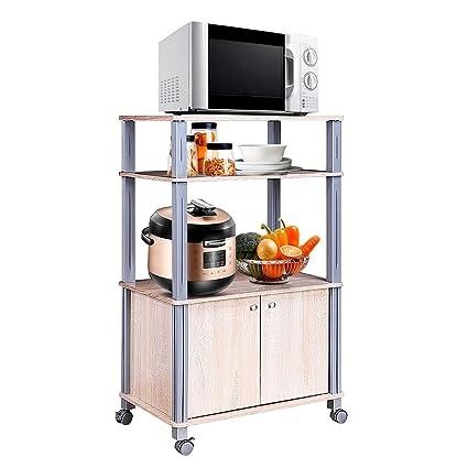 COSTWAY Soporte para Microondas y Horno con Ruedas Estanterías Cocina Carrito Estante Organizador Almacenamiento
