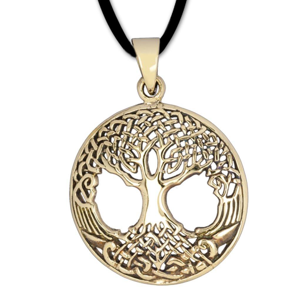 DarkDragon Runder Anhänger Baum des Lebens Keltischer Lebensbaum Schmuck – Heilung - mit Lederhalsband Weltenbaum aus Bronze 017 66155485DDRSGJP017B