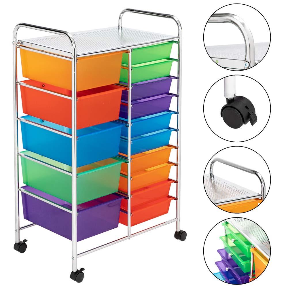 Henf 12-Drawer Rolling Storage Cart Organizer Cart with Semi ...