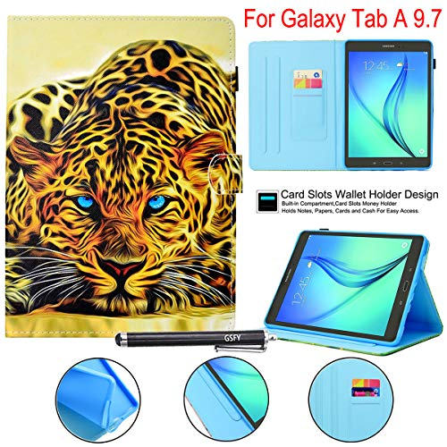 Galaxy Tab A 9.7 Case with Stylus Holder, Newshine Synthetic Leather Anti-Slip Stand Cover Auto Wake/Sleep for 2015 Samsung Galaxy Tab A 9.7 Inch Tablet (SM-T550 P550) - Yellow Leopard