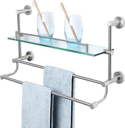 Brushed Nickel SUS304 Bathroom Dual Rack Bar Towel Rail Holder Wall Hanger Shelf