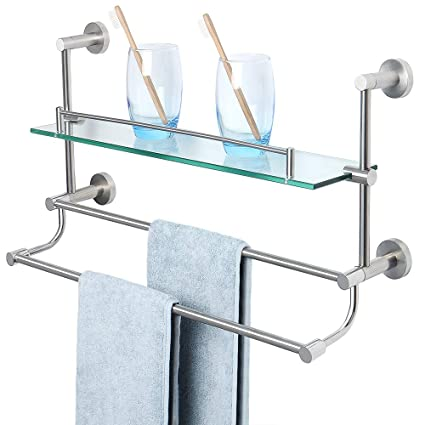 Astonishing Alise Bathroom Shelf Sus 304 Stainless Steel Shower Glass Shelf With Double Towel Bar Rail Towel Rack Wall Mount Brushed Nickel Gy9800 Download Free Architecture Designs Scobabritishbridgeorg