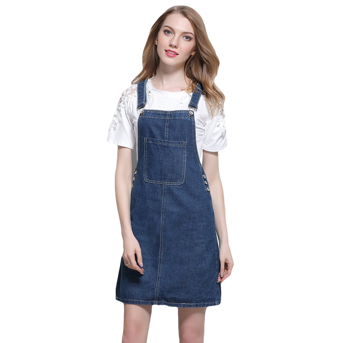 mewow Women's Junior Front Pocket Casual Short Suspender Skirt Denim Overall Dress (US 4)