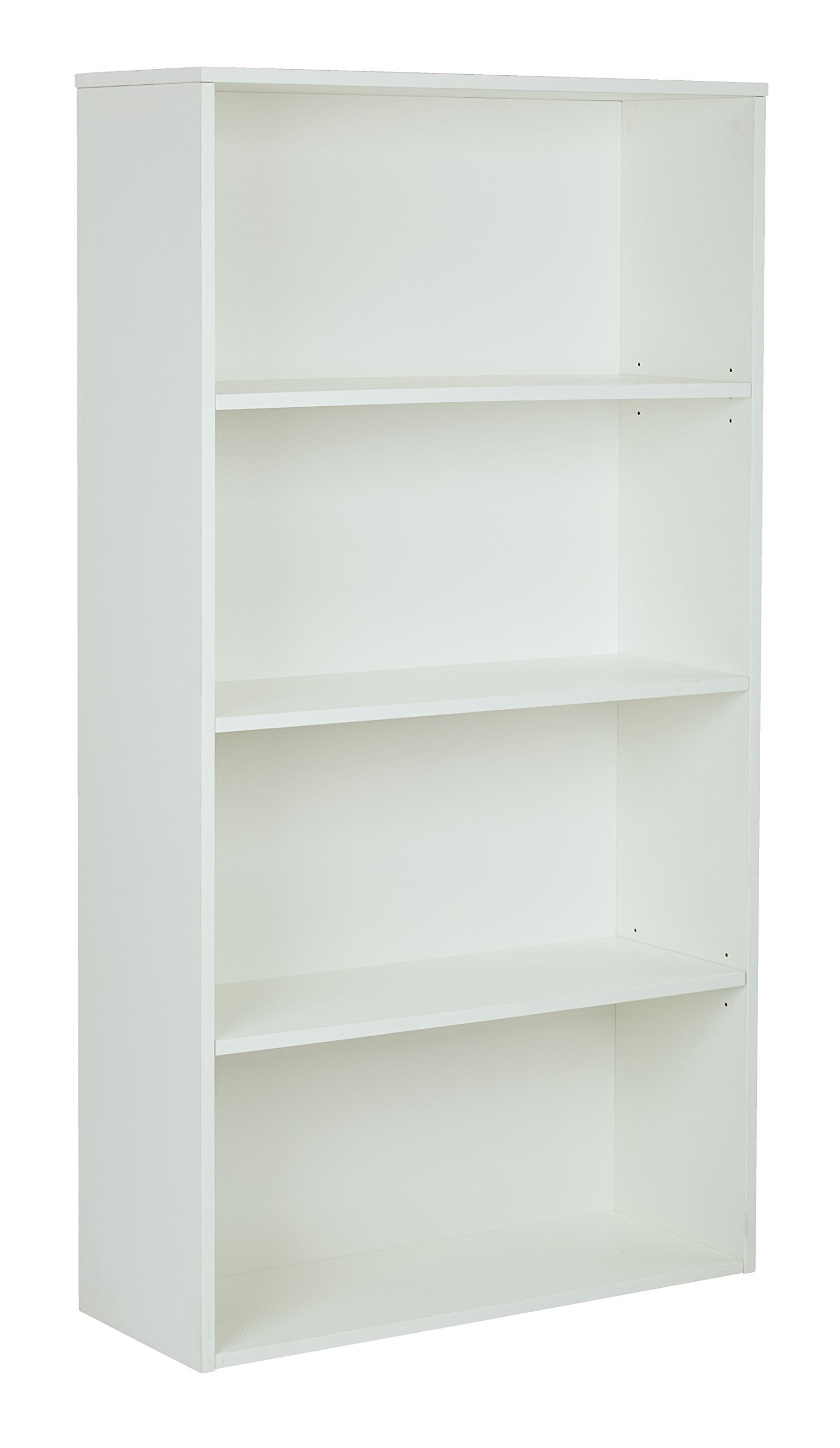 Pro-Line II / OSP Designs Prado 4-Shelf Bookcase with 3/4-Inch Shelves and 2 Adjustable/2 Fixed Shelves, 60-Inch, White