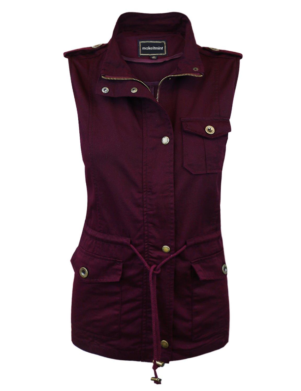makeitmint Women's Light-weight Utility Pocket Anorak Jacket Vest w/ Drawstring [S-3XL] LARGE YJV0028_28BURGUNDY