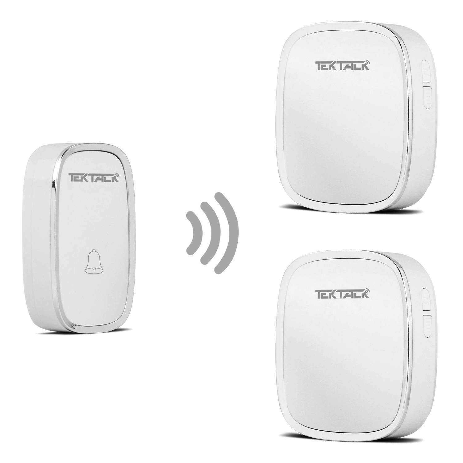 Tektalk Wireless Metallic Edge Decored Door Bell Chime and Push Button with 36 Chimes Volume Levels White 1 Remote Button and 2 Plug in Receivers with LED Indicator
