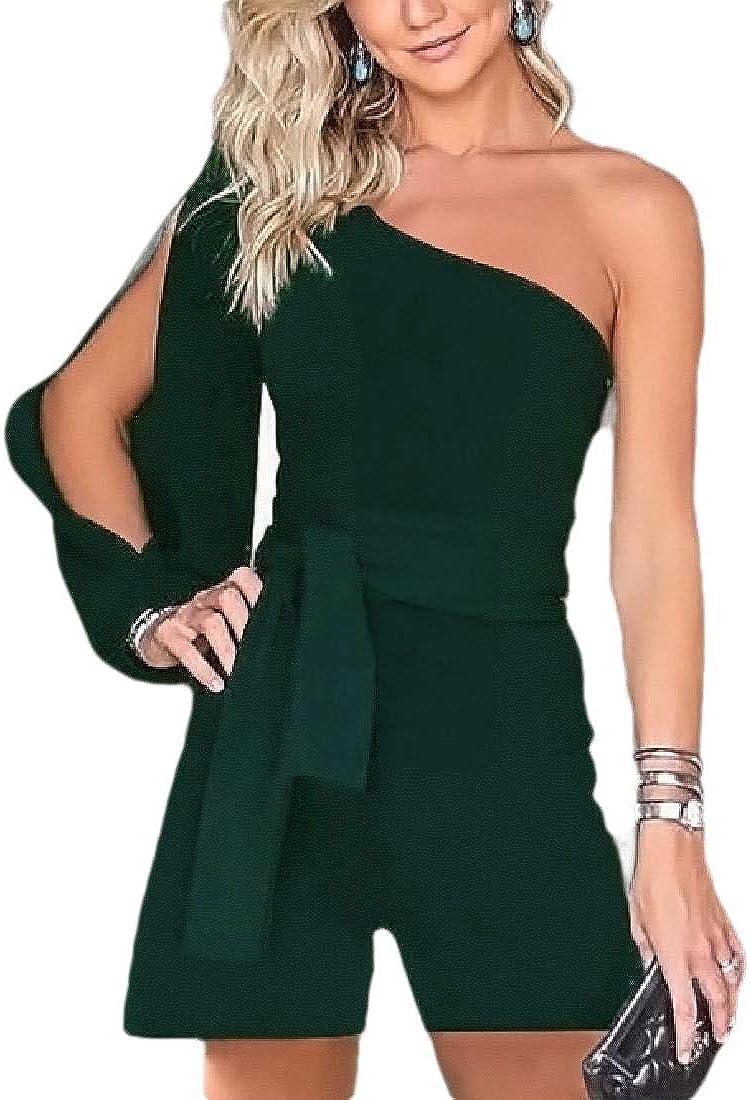 CYJ-shiba Womens Solid Color One Off Shoulder Long Split Sleeve Short Romper