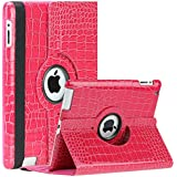 SAVEICON (TM) 360 Degrees Rotating Crocodile Skin PU Leather Case Smart Cover with Stand and Sleep/Wake Function for Apple iPad 4 with Retina Display, iPad 3, iPad 2 (Hot Pink)