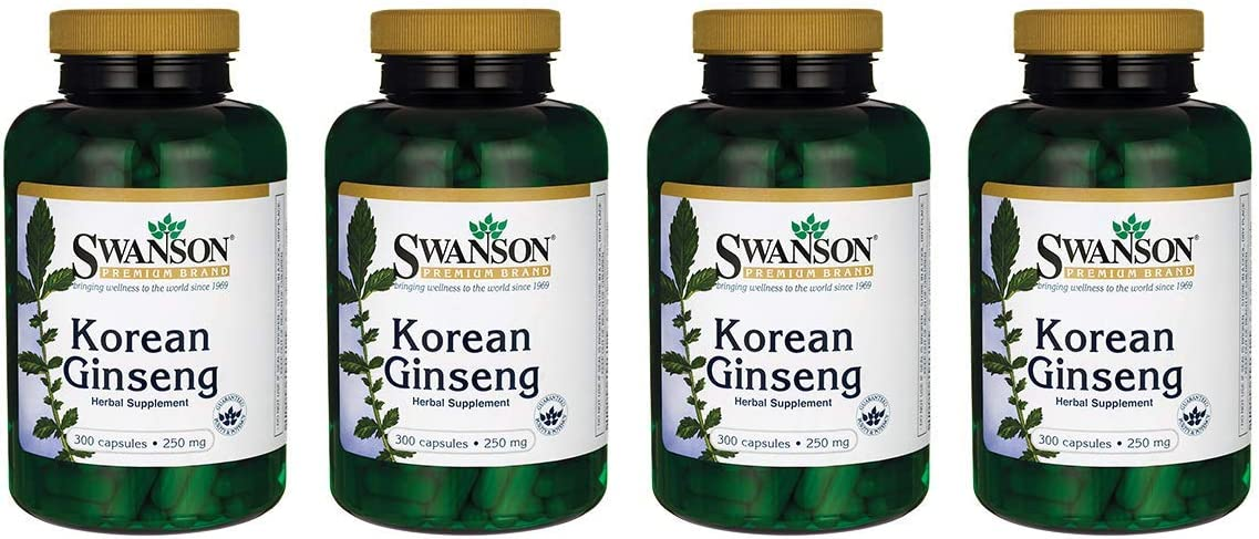 Swanson Korean Ginseng 250 Milligrams 300 Capsules 4 Pack