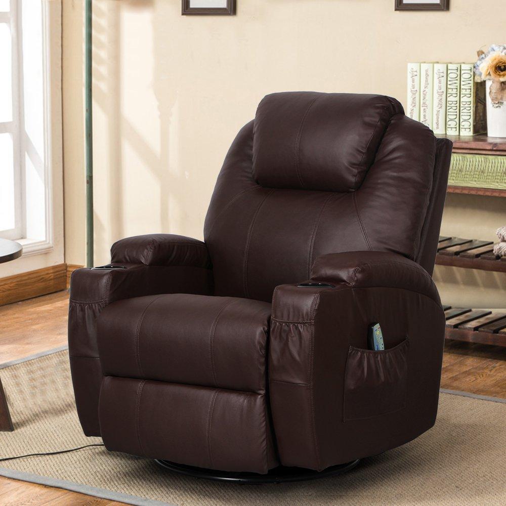 Esright Massage Recliner Chair Heated PU Leather Ergonomic Lounge 360 Degree Swivel (Espresso) by Esright