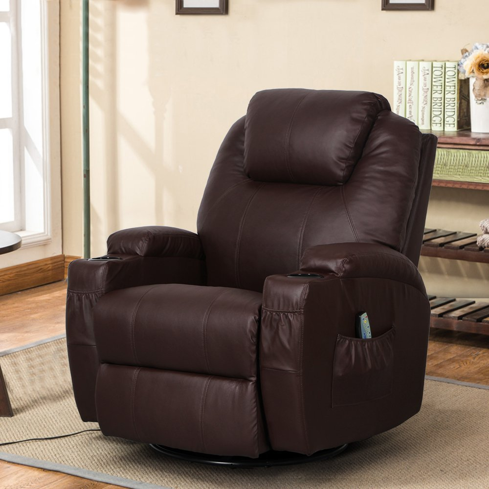 Esright Massage Recliner Chair Heated PU Leather Ergonomic Lounge 360 Degree Swivel (Espresso)