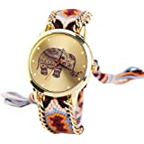 Culater® Women Elephant Pattern Weaved Rope Band Bracelet Quartz Dial Wrist Watch Orange